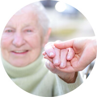 Elderly holing a hand